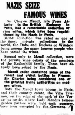 Nazis Seize Famous Wines - The  Mirror, Perth, Saturday 4 January 1941, page 9