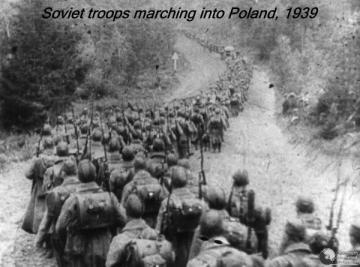 Soviet troops marching into Poland