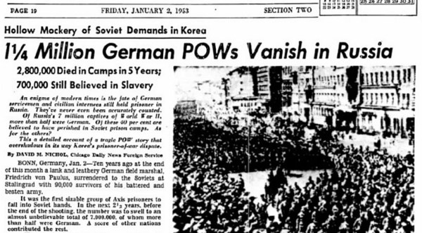 1.25 million German POWs dead