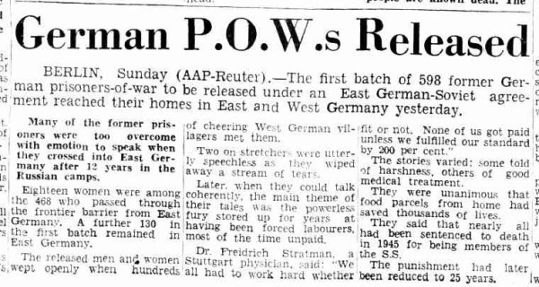 German POWs released 1953