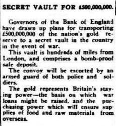 British secret gold vault 1939