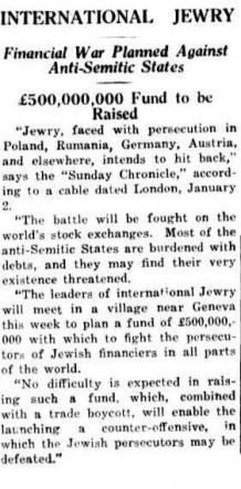 Financial War Planned Against Anti-Semitic States 1938 - The Worker, Brisbane, Qld, Tuesday 4 January 1938