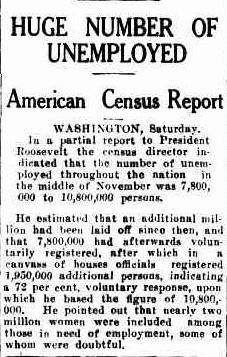 US Has Huge Unemployment 1938
