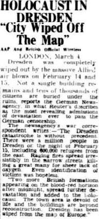 HOLOCAUST IN DRESDEN - City Wiped Off the Map - The Advertiser, Adelaide, Tuesday 6 March 1945, page 4
